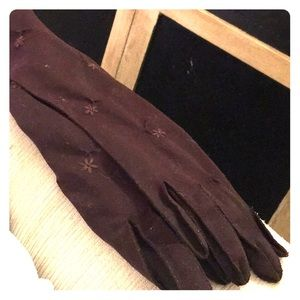 1950s long brown gloves. Embroidered flowers